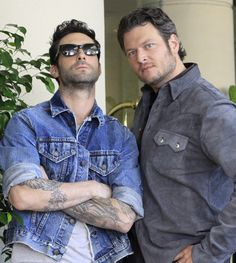 "swooon...Adam Levine and Blake Shelton   (I was tempted to leave this in my ""yummy things to try!"" board...lol)"