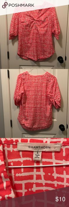 41 Hawthorn Blouse Orange and beige geometric blouse. From Stitch Fix.  Excellent condition.  No sign of wear. 41 Hawthorn Tops Blouses
