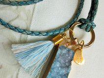 Bettelkette Boho Achatdruse Lederband Quaste blau
