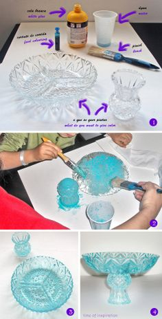 DIY - Dar cor a vidro } Dying glass Home Crafts, Diy And Crafts, Arts And Crafts, Glass Garden Art, Glass Art, Sea Glass, Craft Projects, Projects To Try, Diy Y Manualidades