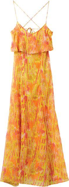 A chiffon maxi dress with a ruffle neck.