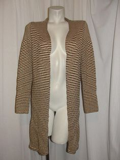 Chico's Metallic Copper Beige Striped Long Sleeve Duster Sweater Jacket Sz 1 M #Chicos #Cardigan #WeartoWorkCasual