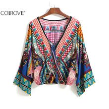 COLROVE Women Blouses Cropped Tops 2016 Ethnic Multicolor V Neck Drawstring Tribal Pattern Print Long Sleeve Blouse(China (Mainland))