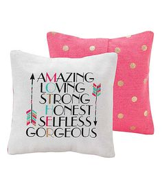 Another great find on #zulily! Pink 'Amazing Loving Strong' Throw Pillow #zulilyfinds