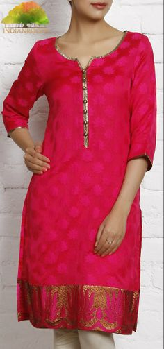 Fuchsia Chanderi #Kurta with Zari Work by IR Studio at Indianroots.com #India