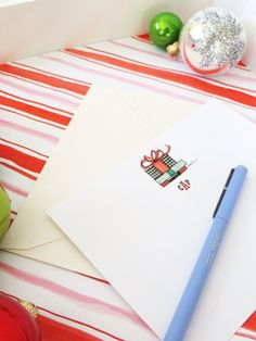 Your friends and family will feel extra merry and bright when you send them a note on this sweet holiday-themed stationery! Stationery comes in a