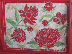 """Red Poppies"" custom order mosaic tray"