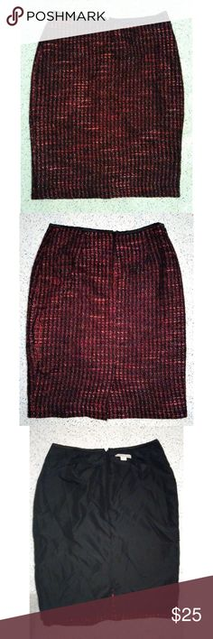 huge discount d03cb 78aef Cold water Creek Tweed Skirt sz 8 Cold water Creek pencil skirt Boucle  tweed Red  Black Back zipper Fully lined Slit in back Sz 8 Coldwater Creek  Skirts ...