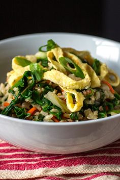 NYT Cooking: brown rice with red chard