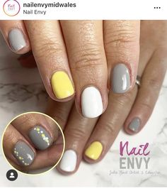 A great combination of colour, yellow grey and white. Biab bottle gel with spots on thumb for that cute design Grey Gel Nails, White Nails, Grey Yellow, Grey And White, Colour Yellow, Cute Designs, Nail Designs, Nail Color Combinations, Yellow Nails Design