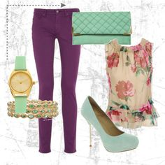 mint & floral style? I think yes! Maybe light pink jeans instead?