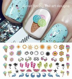 Summer Nail Designs - My Cool Nail Designs Cute Summer Nail Designs, Cute Summer Nails, Diy Nail Designs, Simple Nail Art Designs, Colorful Nail Designs, Nail Designs Spring, Easy Nail Art, Cool Nail Art, Tag Design