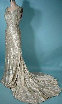 Antique Dress - c. The Liberty Shop, New Orleans, LA Magnificent Satin Rhinestone and Beaded Trained Gown with Original Matching Belt 1930s Fashion, Fashion Moda, Vintage Fashion, Vintage Gowns, Vintage Outfits, Vintage Evening Dresses, Elegant Evening Gowns, Vintage Clothing, Silver Evening Gowns