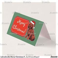 Labradoodle Merry Christmas Custom Folded Tent Card; ArtisanAbigail at Zazzle