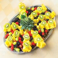 Bob and I have made these pineapple fruit platters several times . . . so beautiful and tasty, too. Fruits can be varied. Thanks to my friend, Dottie.                    20 mins, Total Time:                     20 mins, Ingredients: 1 whole fresh pineapple, 2 kiwi fruits, trimmed, peeled, each cut into 6 slices, 1 container (6 oz) blackberries, 1 container (6 oz) raspberries, 1 1/2 lbs grapes (red, green, black)