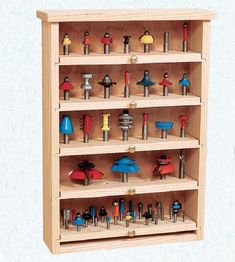 Build a Router Bit Cabinet with Pull Out Shelves - Free Woodworking Plan. www.Rockler.com