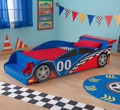 When babies grow thy can no longer sleep in the crib and need a bigger place to sleep in. Toddler beds are the next stage in transition for the babies. Toddler beds for boys come in colorful designs f Race Car Bedroom, Car Themed Bedrooms, Bedroom Themes, Bedroom Ideas, Bed Ideas, Race Car Toddler Bed, Toddler Beds For Boys, Toddler Furniture, Kids Bedroom Designs