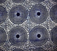African Fabric 1/2 Yard Cotton NAVY BLUE WHITE Circles Dots