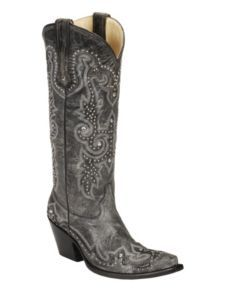 Corral Embroidered & Studded Cowgirl Boots - Snip Toe