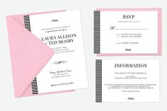 Elegant and classic wedding invitation suite. Create a simple but beautiful feel as the first impressions for your guests with this striped wedding invitation.