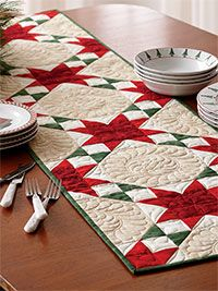 Christmas Quilt Images | Digital Patterns   Seasonal Stars Runner Quilt  Digital Pattern