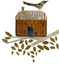 bird house by Susan Farrington - Mixed media collage of tree limb with house and bird. Nature Collage, Mixed Media Collage, Collage Art, Lilla Rogers, Poster Prints, Art Prints, Bird Houses, Altered Art, Art Lessons