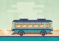 Bus designed by John Salinero. Connect with them on Dribbble; Bus Drawing, Car Drawings, Illustrations, Illustration Art, Flyer Design, Layout Design, Bus App, Life Skills Activities, African Crafts