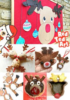 Collection of easy Reindeer Craft Ideas for kids. We do love a cute Reindeer DIY! Whether you rae decorating with just Reindeers or more specifically Rudolph Crafts, I think you will love to see these crafts! Christmas Craft Fair, Preschool Christmas, Christmas Sewing, Simple Christmas, Animal Crafts For Kids, Paper Crafts For Kids, Easy Crafts For Kids, Book Crafts, Reindeer Craft