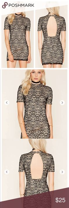 Crochet Lace Overlay Open Back Bodycon Dress NEW New with tags Dresses Mini