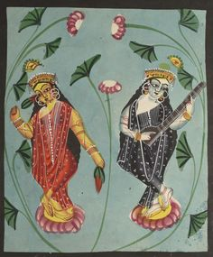 Lakshmi and Sarasvati, 1800s India, Calcutta, Kalighat painting, 19th century, black ink, color paint, and graphite drawing on paper, Secondary Support: 36.10 x 29.20 cm (14 3/16 x 11 7/16 inches); Painting only: 30.10 x 25.50 cm (11 13/16 x 10 inches). Gift of William E. Ward in memory of his wife, Evelyn Svec Ward 2003.121