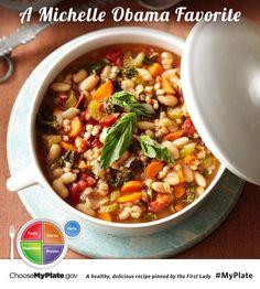 Mediterranean Kale and Cannellini Stew with Farro #veggies #myplate #myplatebirthday