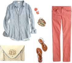 """Casual in Coral"" by marleylilly on Polyvore"