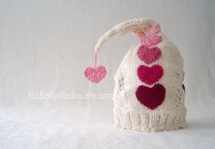 Hand Knit Baby Valentine Hat Pixie Cap Red Hearts