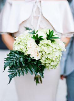 DIY Green Hydrangea and Fern Bouquet | Costco | Emma Freeman Photography https://www.theknot.com/marketplace/emma-freeman-photography-minneapolis-mn-383335
