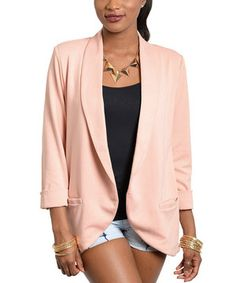 This Dust Pink Three-Quarter Sleeve Blazer by Buy in America is perfect! #zulilyfinds