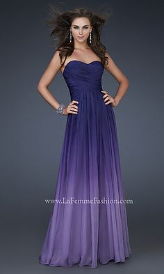 Long Strapless Ombre Gown at SimplyDresses.com