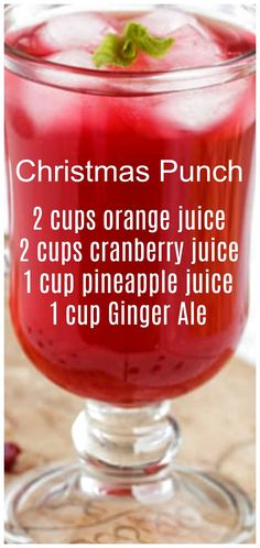 Christmas Punch ~ so simple to make and delicious! We like to serve this punch on Christmas morning. Christmas Punch ~ so simple to make and delicious! We like to serve this punch on Christmas morning. Cocktail Drinks, Fun Drinks, Yummy Drinks, Healthy Drinks, Mixed Drinks, Refreshing Drinks, Food And Drinks, Healthy Food, Cold Drinks