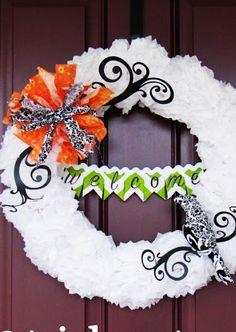 Tissue Paper Pom Pom Halloween Wreath