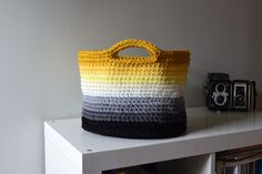 Crochet in Color: Ombre Basket Pattern - use Lions Brand Wool Ease - Oatmeal with double thread.