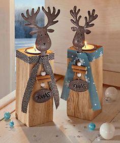 Teelichthalter Kerzenständer Kerzenhalter Elch Holz Weihnachtsdeko Weihnachten