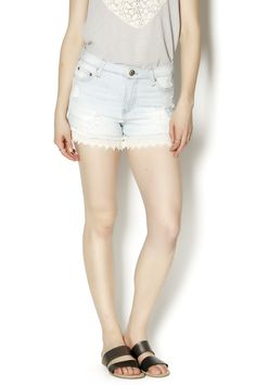 Ripped light colored denim shorts with lace bottom. Dress these shorts up with a nice blouse and wedges. Lace Bottom Shorts by Elan. Clothing - Shorts - Mini Clothing - Shorts Clothing - Shorts - Denim Pennsylvania