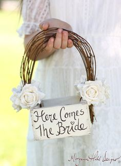 Here Comes The Bride Flower Girl Basket Rustic Country Wedding / http://www.deerpearlflowers.com/flower-girl-basket-ideas/