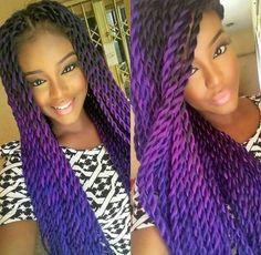 Bright purple and blue ombre senegalese twists! Find this color hair here... http://s.click.aliexpress.com/e/nuFYr7yVv