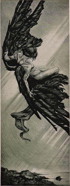 Icarus by Alois Kolb, 1901 Aesthetic Painting, Aesthetic Art, Aesthetic Black, Aesthetic Vintage, Dark Fantasy Art, Dark Art, Art Sketches, Art Drawings, Arte Fashion