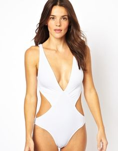 ASOS Deep Plunge Cut Out Swimsuit #WhiteWonderland