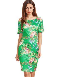 662c9f885e Green Short Sleeve Flower Print Sheath Dress