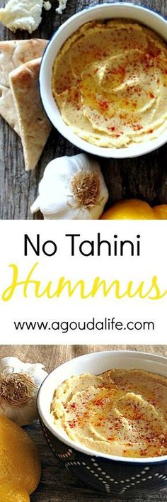 EASY, delicious hummus recipe WITHOUT TAHINI plus a tip for the creamiest hummus, ever.