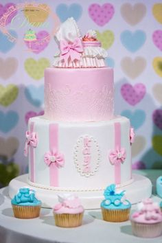 Girl christening cake and cupcakes