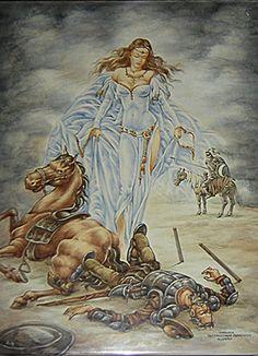 Derrotado y dolorido, el caballero de la triste figura ve una aparición de su amada Dulcinea del Toboso. Fantasía pintada sobre azulejos de cerámica de Talavera de la Reina