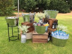 We love rustic event decor!   Who else is inspired by this drink station designed by @weddingsofdistinction?